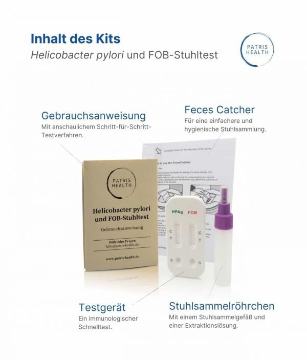 Patris Health - Helicobacter pylori und FOB-Stuhltest - Inhalt des Kits