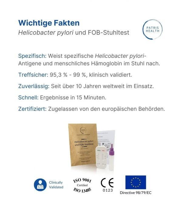 Patris Health - Helicobacter pylori und FOB-Stuhltest - Wichtige Fakten