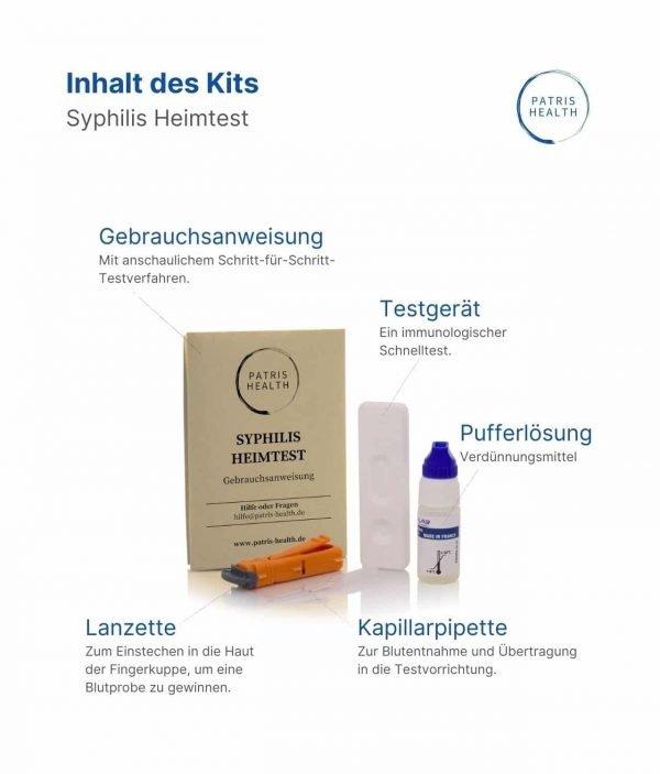 Patris Health - Syphilis Schnelltest (Treponema pallidum) Inhalt des Kits