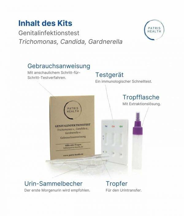 Patris Health - Inhalt des Kits - Genitalinfektionstest Trichomonaden, Candida, Gardnerella